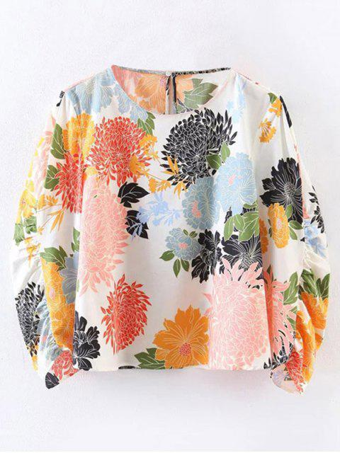 outfits Chrysanthemum Print Blouse - WHITE M Mobile