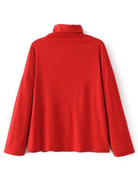 online High Neck Embroidered Top - RED L Mobile