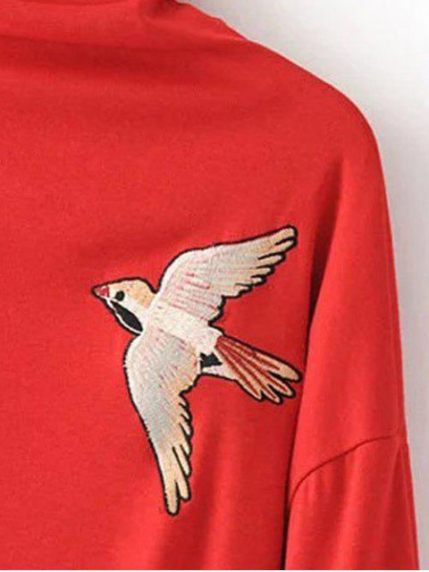new High Neck Embroidered Top - RED M Mobile