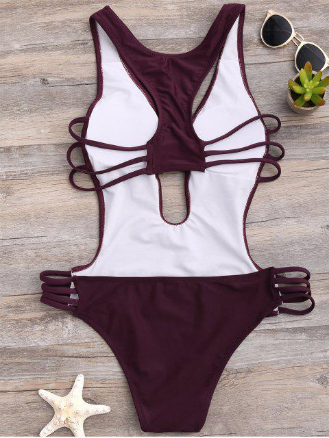 womens High Cut One-Piece Swimwear - WINE RED XL Mobile