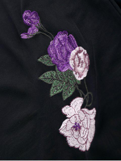 fashion Floral Embroidered Mesh Sheer Tee - BLACK M Mobile