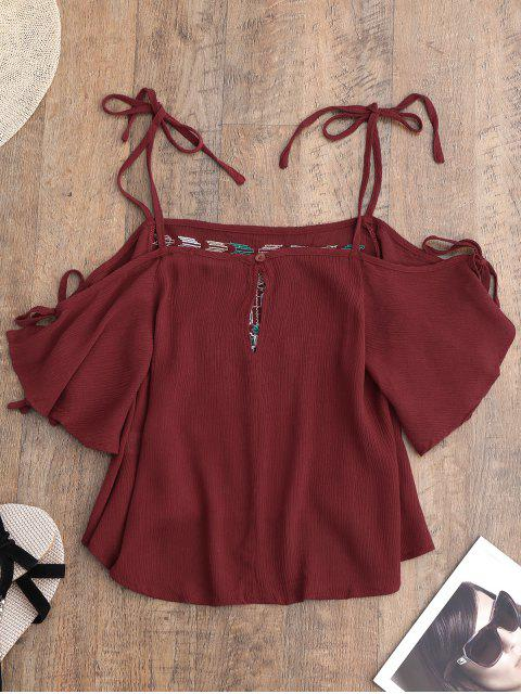 affordable Embroidered Cold Shoulder Top - RED M Mobile