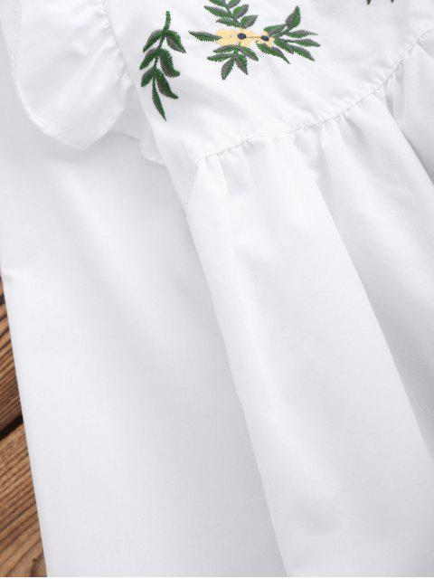 online Leaf Embroidered Ruffle Smock Top - WHITE S Mobile