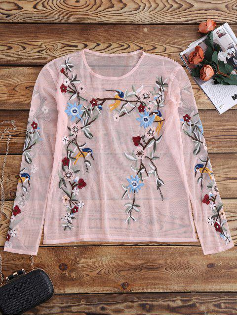 unique Embroidered Sheer Lace Top - PINK S Mobile