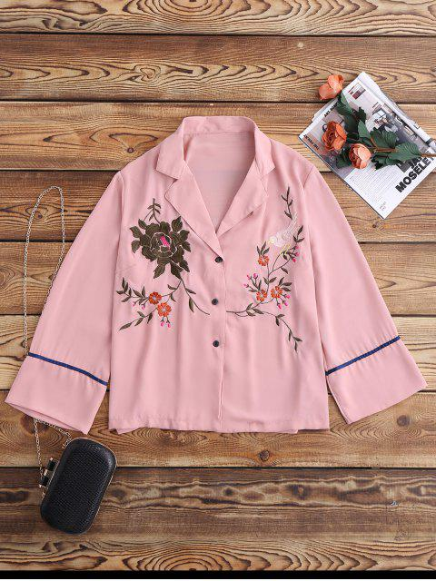 outfit Embroidered Pajama Shirt - PINK S Mobile