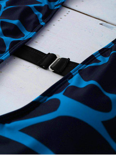 Monokini sexy imprimé dos à bretelle - Noir S Mobile