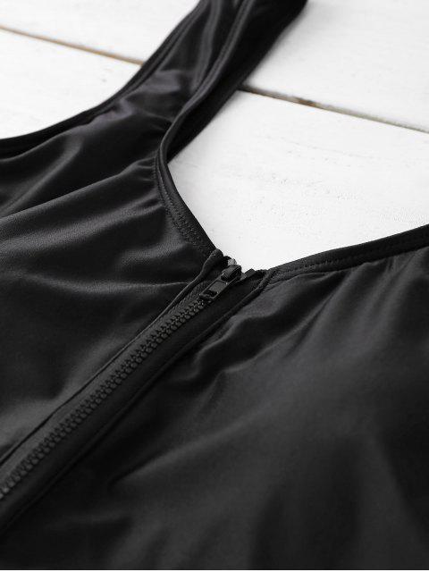 Maillots de bain d'une pièce à moitié zippée et à jambes hautes - Noir S Mobile