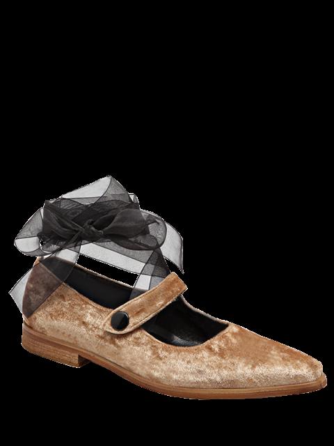 hot Ribbon Tie Up Velvet Flat Shoes - APRICOT 37 Mobile