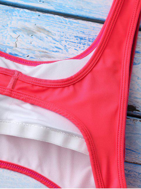 Maillots de bain color block avec découpes - Rouge S Mobile