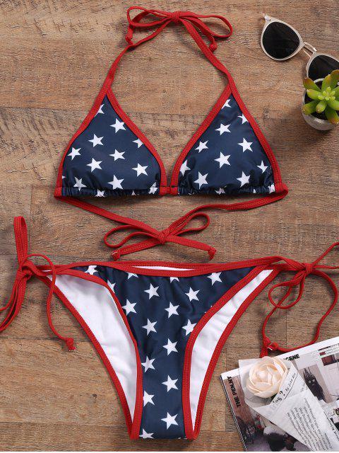 latest Star String Bikini Set - BLUE L Mobile