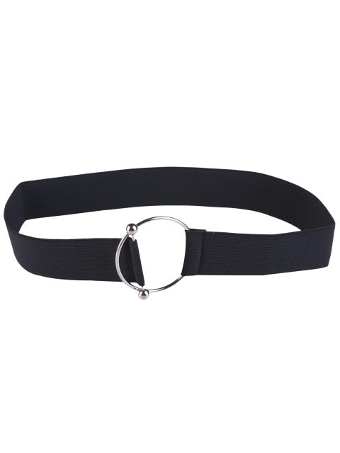 women's Round Metallic Buckle Elastic Stretch Belt - BLACK  Mobile