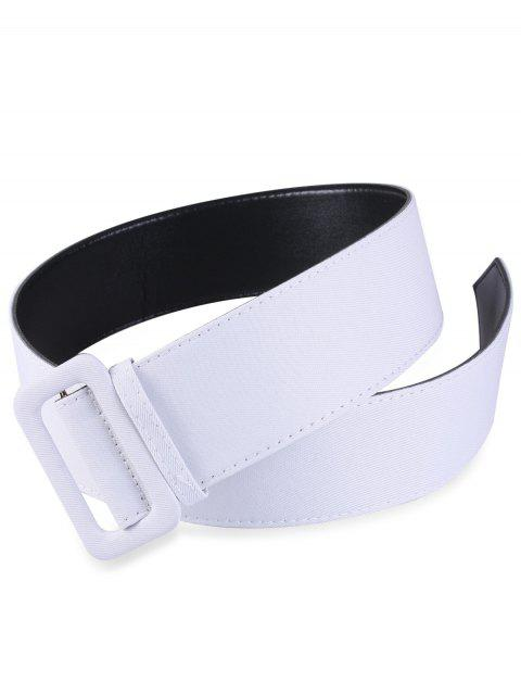 new Fabric Panel PU Leather Belt - WHITE  Mobile