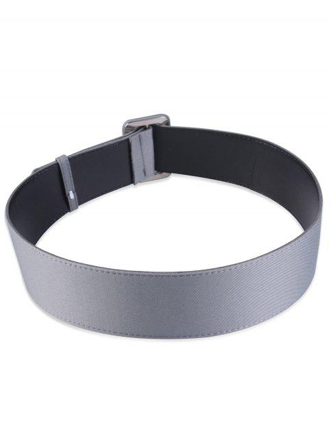 outfit Fabric Panel PU Leather Belt - GRAY  Mobile