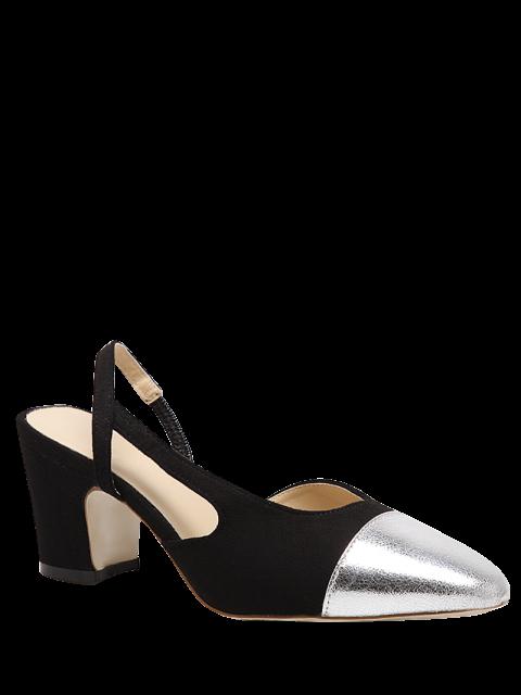 lady Slingback Color Block Chunky Heel Pumps - BLACK 39 Mobile