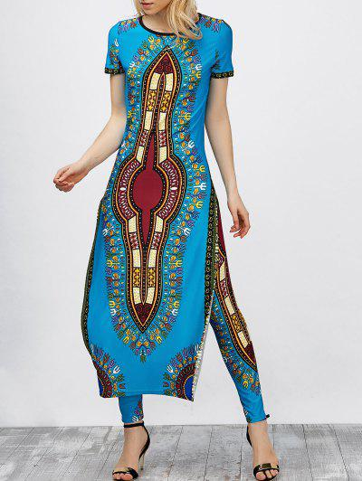 Image of Africa Print High Slit Robe Dress with Pants