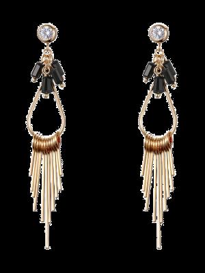 Faux Gem Teardrop Fringed Drop Earrings - Golden