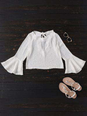 Amarrado Alargamento Da Luva Linho Blusa - Branco L