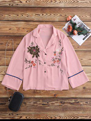 Embroidered Pajama Shirt - Pink L
