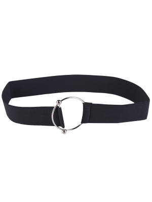 Cinturón Elástico De Hebilla Metálica Redonda - Negro