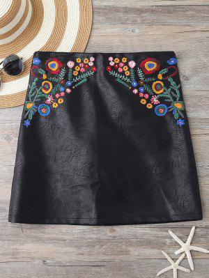 Minifalda De Cuero De Imitación De Bordado - Negro L