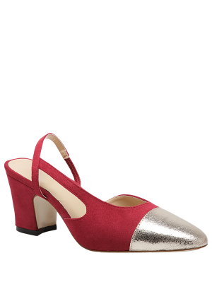 Slingback Color Block Chunky Heel Pumps - Red 37