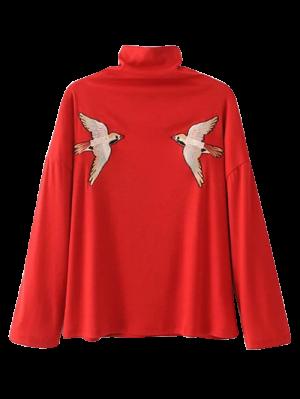 Top Cuello Alto Bordado - Rojo M