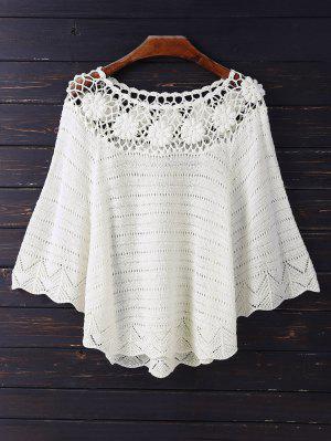 Crochet Flower See Thru Dolman Top - Beige