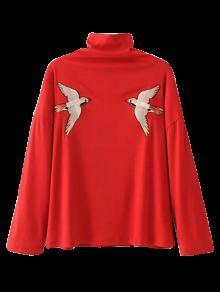 Top Cuello Alto Bordado - Rojo S