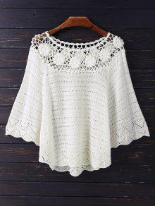 Crochet Flower See Thru Dolman Top - Beige