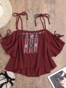 Embroidered Cold Shoulder Top - Red L