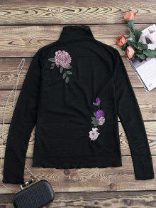 Floral Embroidered Mesh Sheer Tee - Black S
