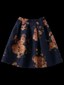 Knee Length Floral A-Line Skirt PURPLISH BLUE: Skirts ONE SIZE | ZAFUL