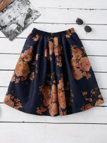 Knee Length Floral A-Line Skirt PURPLISH BLUE: Skirts ONE SIZE   ZAFUL