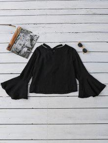 Tied Flare Sleeve Linen Blouse - Black M