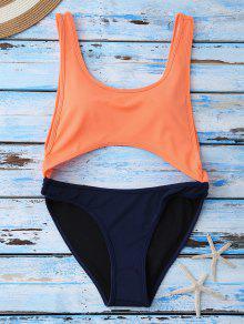 Bañador Escotado Con Color Bloque - Naranja M
