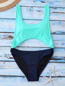 Color Block Cut Out Swimwear - Blue M