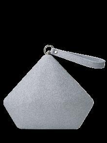 حقيبة السهرة طباعة هندسية ذات ترترة - فضة