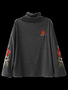 High Neck Embroidered Top - Black Grey S