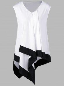 V بلوزة طويلة ذات ياقة على شكل حرف - أبيض وأسود 4xl