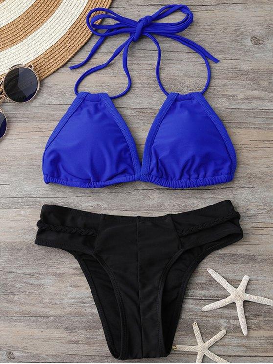 Acolchado superior del bikini y trenzado Bottoms - Azul y Negro S