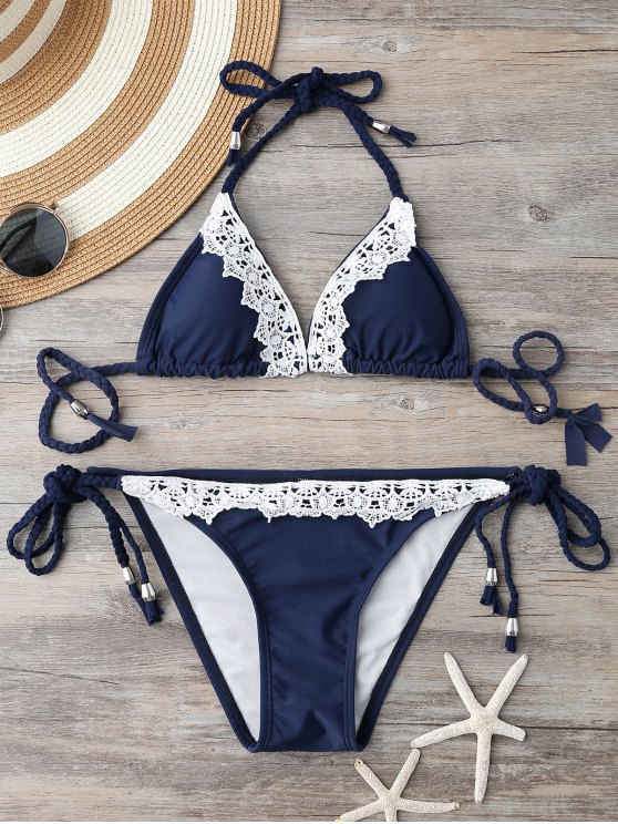 Bikini de Cordones de Trenza con Encaje de Contraste - Azul S