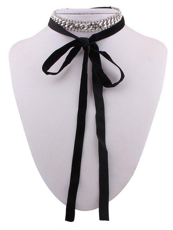 Cadena Cristal Collar Gargantilla de terciopelo - Plata