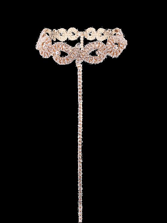 Legierung Strass Halskette mit Unendlich Form - Golden