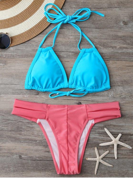 Bikini dos-nu à encolure plongeante et Bas en bandeau - Bleu et Rose M