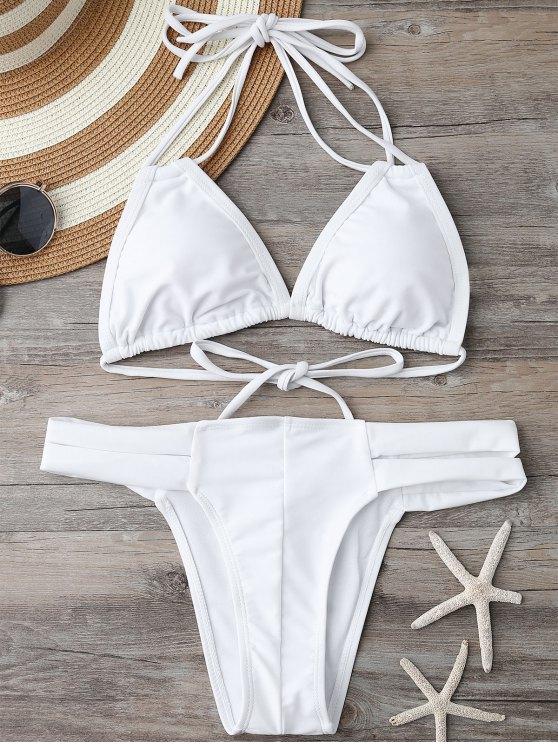 Acolchado superior del bikini y con bandas Bottoms - Blanco L