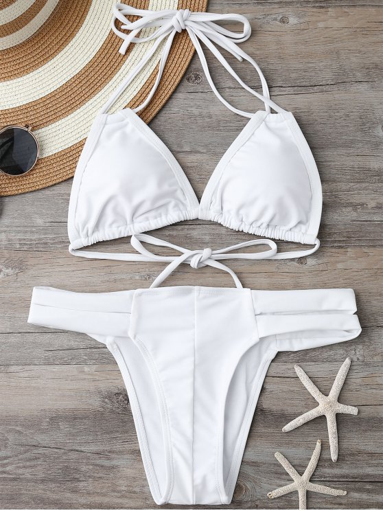 Acolchado superior del bikini y con bandas Bottoms - Blanco S