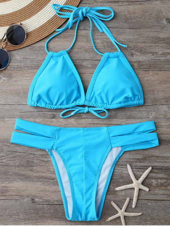 Acolchado superior del bikini y con bandas Bottoms - Lago Azul S