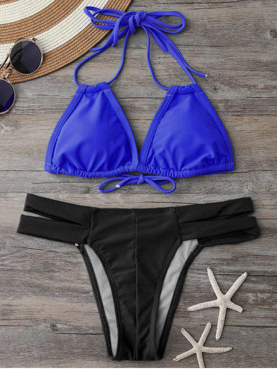 Bikini dos-nu à encolure plongeante et Bas en bandeau - Bleu et Noir L