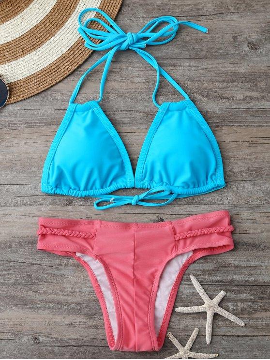 Haut de bikini rembourré et Bas à lanières tressées - Bleu et Rose L