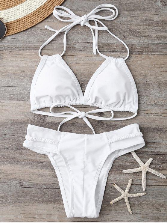 Maillot de bain paddé décoré des bandes tressées - Blanc L